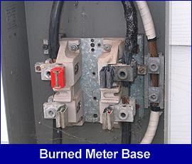 Safety hazard: burned meter base