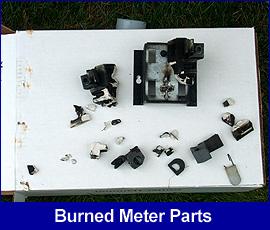 Safety hazard: burned meter parts