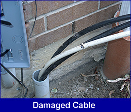 Safety hazard: damaged cable