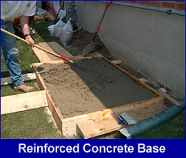 Reinforced concrete base for generator installation