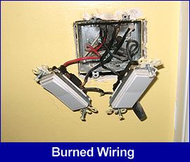 Safety hazard: burned wiring